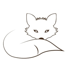 Silhouette contour monochrome with fox lying down vector