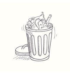 Sketched full trash bin desktop icon vector image vector image