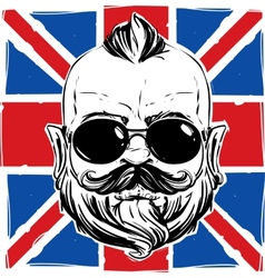 stylish man with a beard against the Union Jack vector image vector image