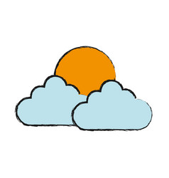sun and clouds icon vector image