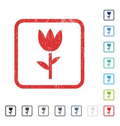 Tulip icon rubber watermark vector