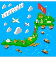 Vietnam map touristic isometric poster vector