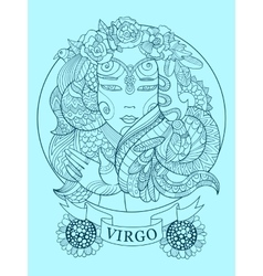 Virgo zodiac sign coloring book for adults vector image vector image