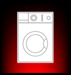 washing machine sign postage stamp or old photo vector image