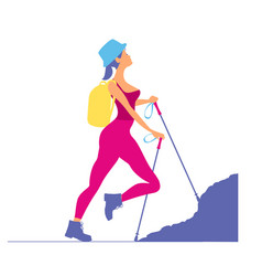 Woman traveling in the mountainstourist rock vector