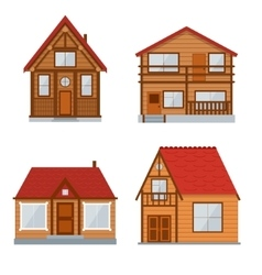 Wooden country house or home set vector