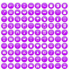 100 credit icons set purple vector