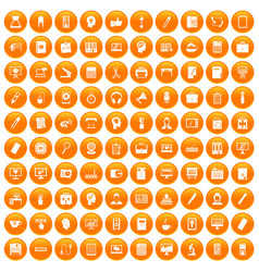 100 work space icons set orange vector