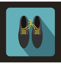 Gray shoes with laces tied together icon vector