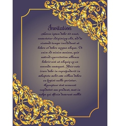 Gold ornamental card with antique luxury blue and vector