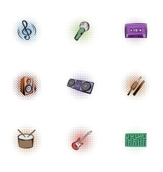 Musical tools icons set pop-art style vector