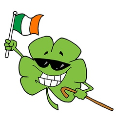 Happy shamrock carrying a cane and waving an flag vector
