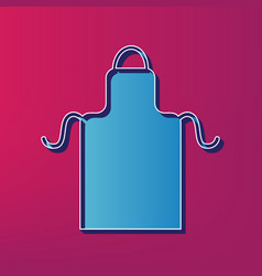 Apron simple sign  blue 3d printed icon on vector