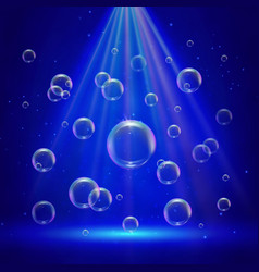 Stage illumination with spotlights and bubbles vector