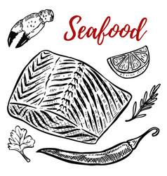 Seafood salmon meat lemon spices design elements vector