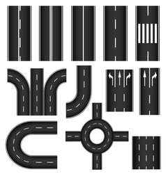 Road element set vector image