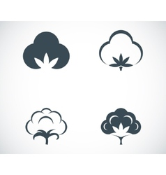 Black cotton icons set vector