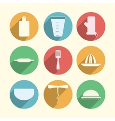 Flat circle icons for kitchenware vector