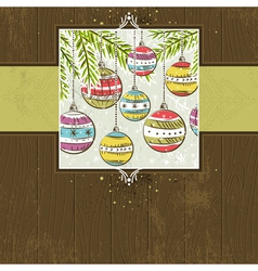 Brown wooden christmas background with christmas b vector