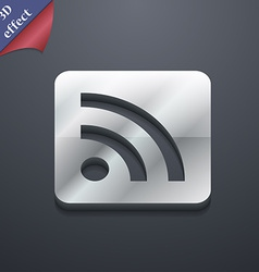 Rss feed icon symbol 3d style trendy modern design vector
