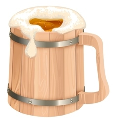 Wooden beer mug mug of beer foam vector