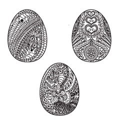 Hand drawn easter eggs for coloring book vector