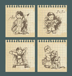 Kids - set of vintage drawings vector