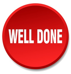 Well done red round flat isolated push button vector