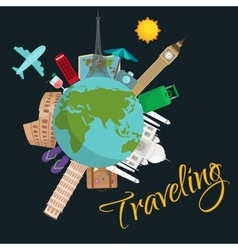 Travel around the world poster tourism and vector