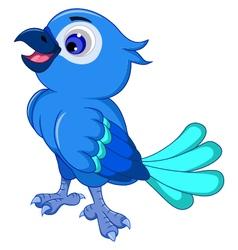Cute blue bird posing vector image