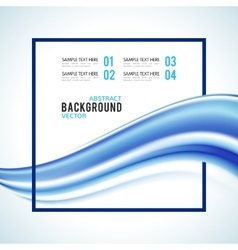 Abstract blue wave with frame isolated on white vector image vector image