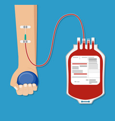 Blood bag and hand of donor with ball vector