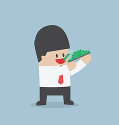 Businessman eating dollars corruption and greed c vector
