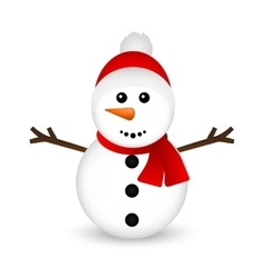 Christmas snowman on white background vector