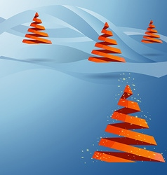 Christmas tree made with red ribbons on blue vector