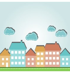 city houses and clouds vector image