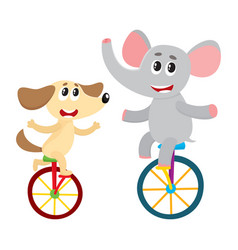 cute little dog puppy and elephant characters vector image vector image