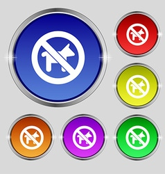 Dog walking is prohibited icon sign round symbol vector
