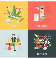 Drugs flat set vector