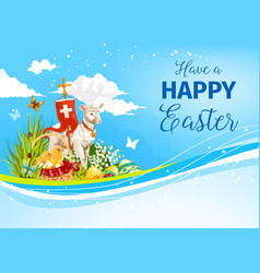 easter paschal passover lamb greeting card vector image