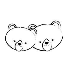 figure cute bear head animal couple together vector image