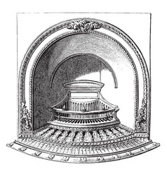 Fire grate solid fuel fire vintage engraving vector