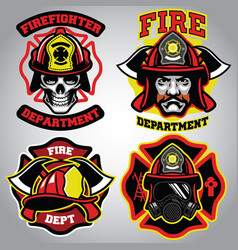Firefighter badge set vector