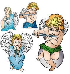 four angels set vector image