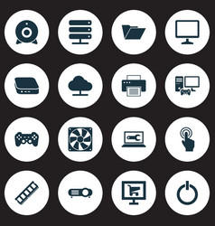 Gadget icons set with dossier tree gamer vector