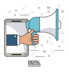 Hand holding speaker smartphone digital marketing vector