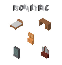 Isometric design set of cupboard drawer table vector