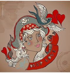 Old-school styled tattoo woman Valentine vector image