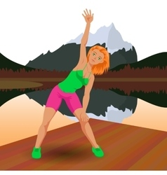 Pretty young woman doing aerobic exercise vector