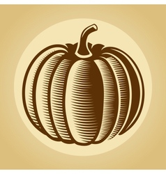 Pumpkin label in retro vintage style vector image